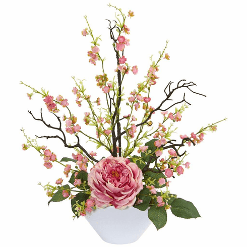"23"" Pink Rose & Cherry Blossom Artificial Arrangement"