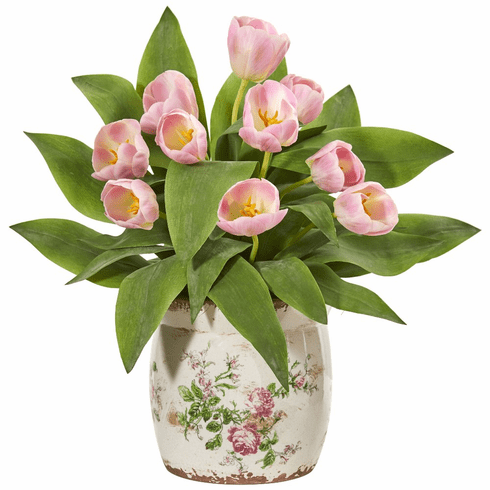 Pink Tulip Artificial Arrangement in Floral Design Vase