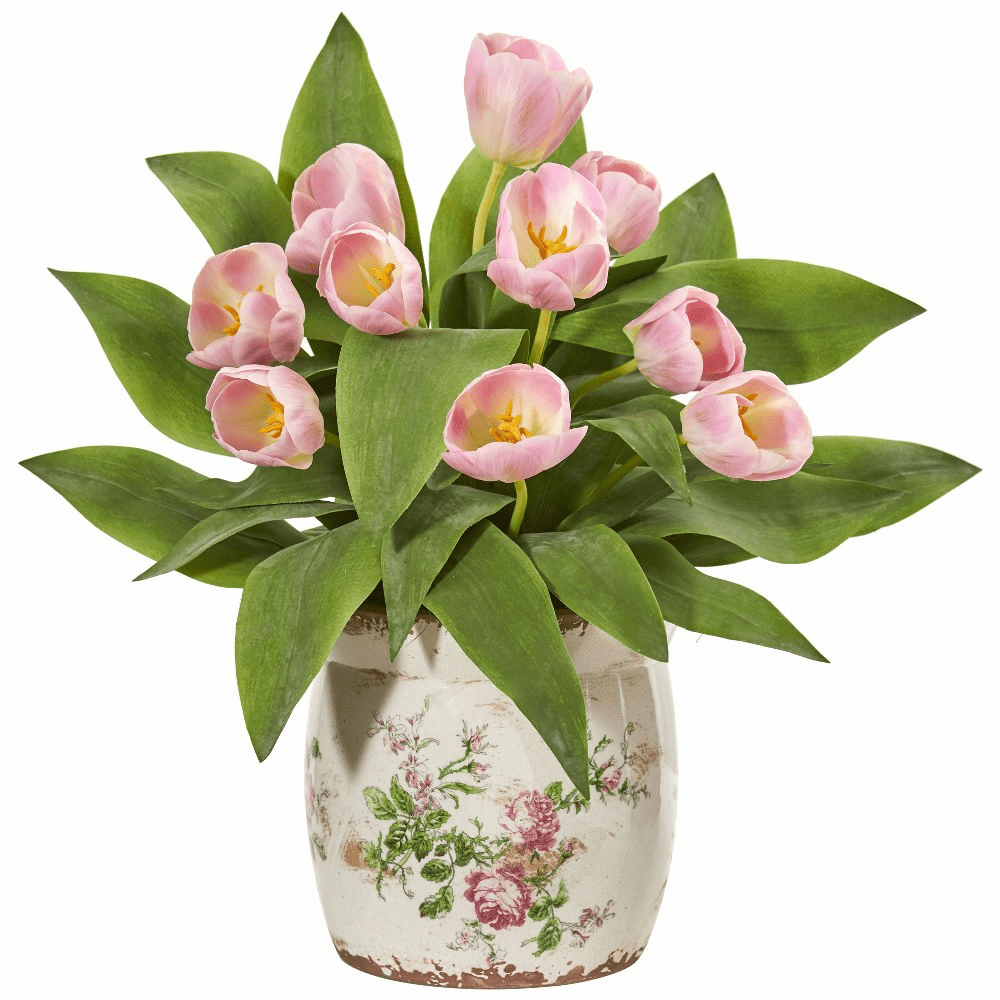 "18"" Pink Tulip Artificial Arrangement in Floral Design Vase"