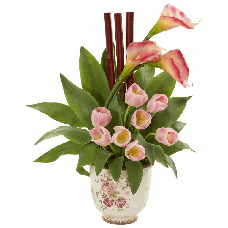 Pink Tulips and Calla Lilly Artificial Arrangement in Floral Vase
