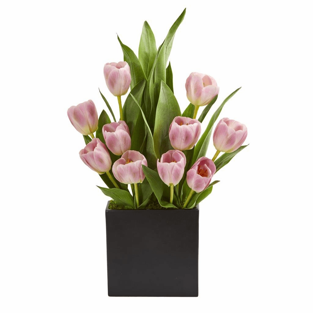 "21"" Pink Tulips Artificial Arrangement in Black Vase"
