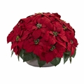 "14"" Poinsettia Artificial Plant in Stone Planter"