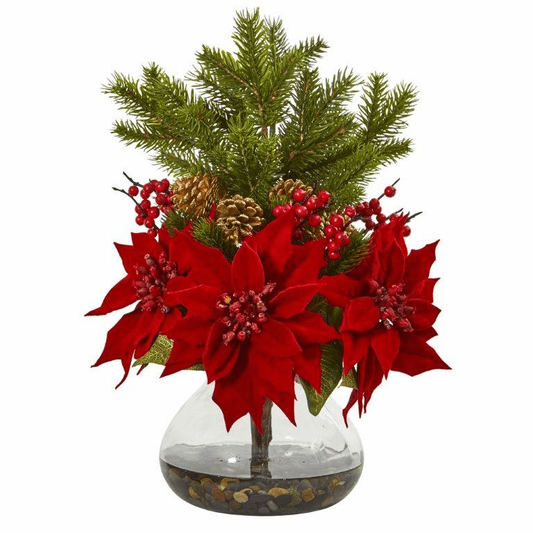 """17"""" Poinsettia, Berry and Pine Artificial Arrangement in Vase"""