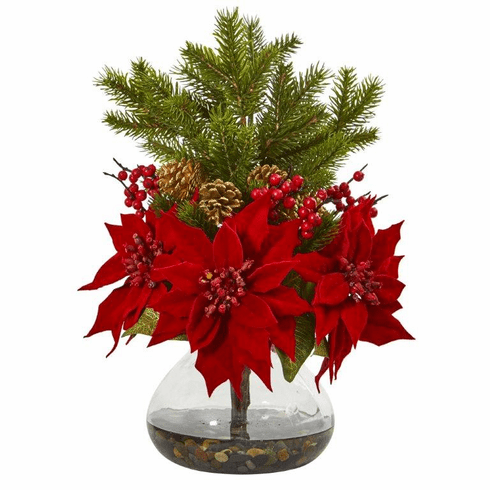 "17"" Poinsettia, Berry and Pine Artificial Arrangement in Vase"