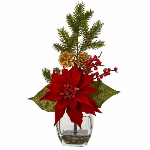"16"" Poinsettia, Berry and Pine Artificial Arrangement in Vase"