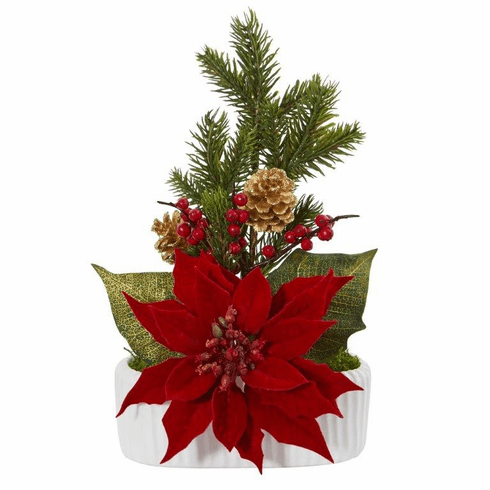 "13"" Poinsettia, Berry and Pine Artificial Arrangement in White Vase"