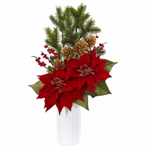 Poinsettia Berry Artificial Arrangement in White Vase