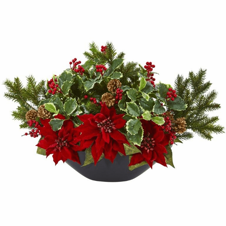 """17"""" Poinsettia, Holly, Berry and Pine Artificial Arrangement -"""