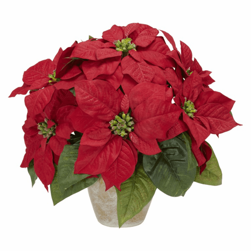 "13"" Poinsettia with Ceramic Vase Silk Flower Arrangement"
