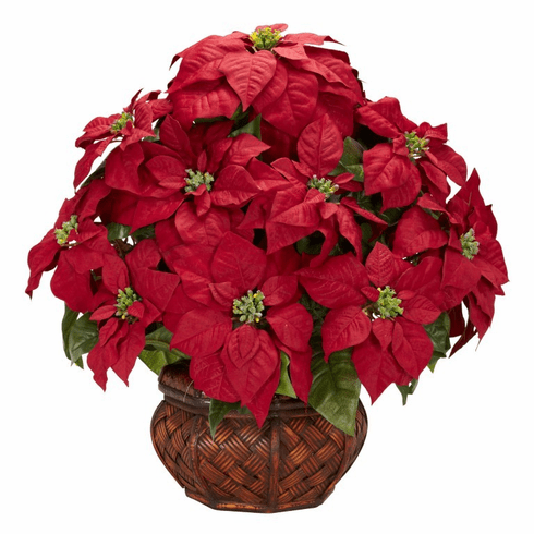 "22"" Poinsettia with Decorative Planter Silk arrangement"