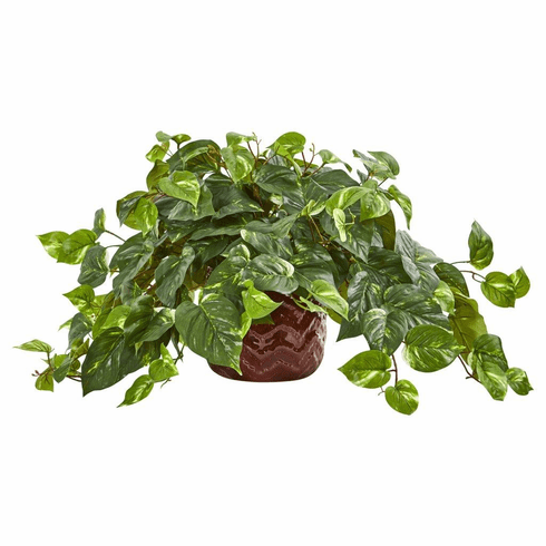 "14"" Pothos Artificial Plant in Design Red Vase"