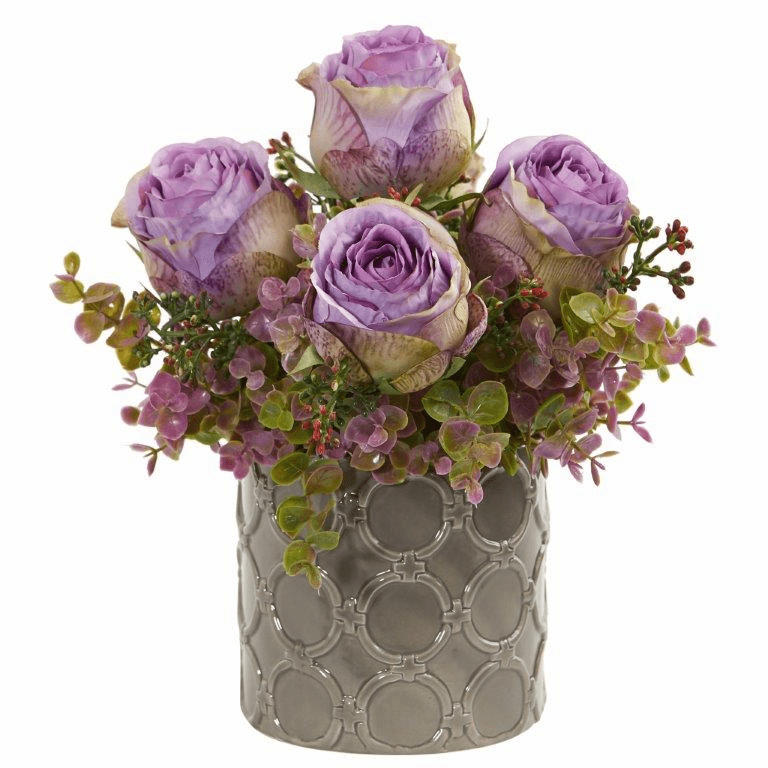 Purple 11� Roses and Eucalyptus Artificial Arrangement in Designer Vase