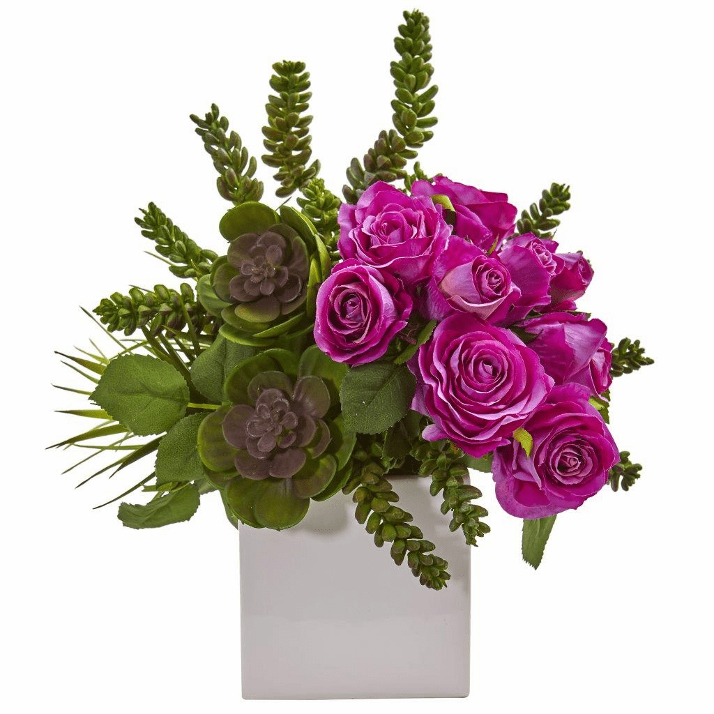 14� Purple Rose & Succulent Artificial Arrangement in White Vase