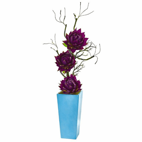 "53"" Purple Musella Artificial Arrangement in Blue Planter"