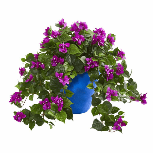 "22"" Purple Bougainvillea Artificial Plant in Blue Planter"