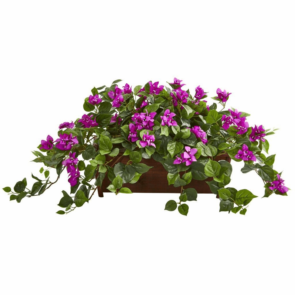 "18"" Purple Bougainvillea Artificial Plant in Decorative Planter"