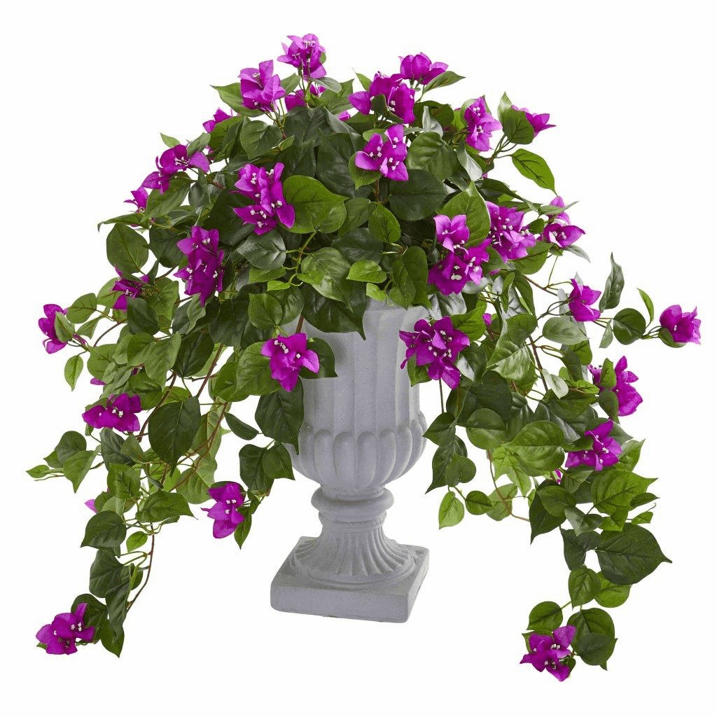 "27"" Purple Bougainvillea Artificial Plant in Decorative Urn"