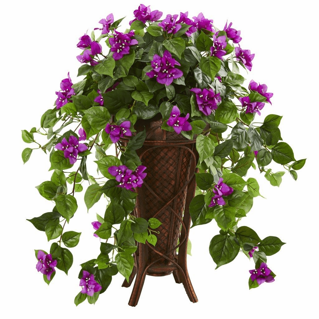 "31"" Purple Bougainvillea Artificial Plant in Stand Planter"