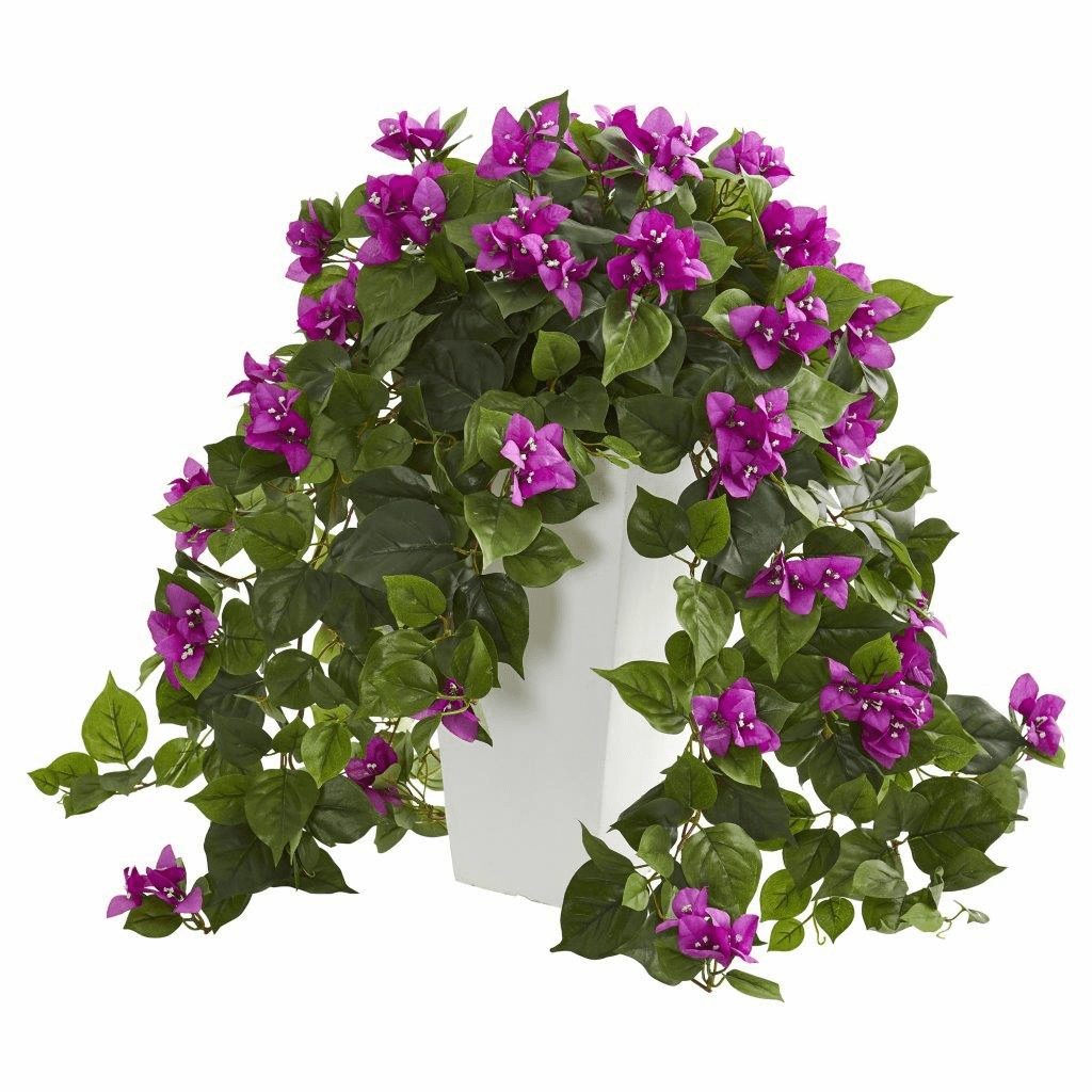 "23"" Purple Bougainvillea Artificial Plant in White Tower Planter"