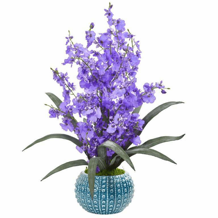 "20"" Purple Dancing Lady Orchid Artificial Arrangement in Blue Vase"