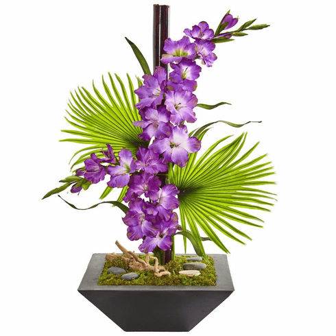"31"" Purple Gladiolas and Fan Palm Artificial Arrangement in Black Vase"