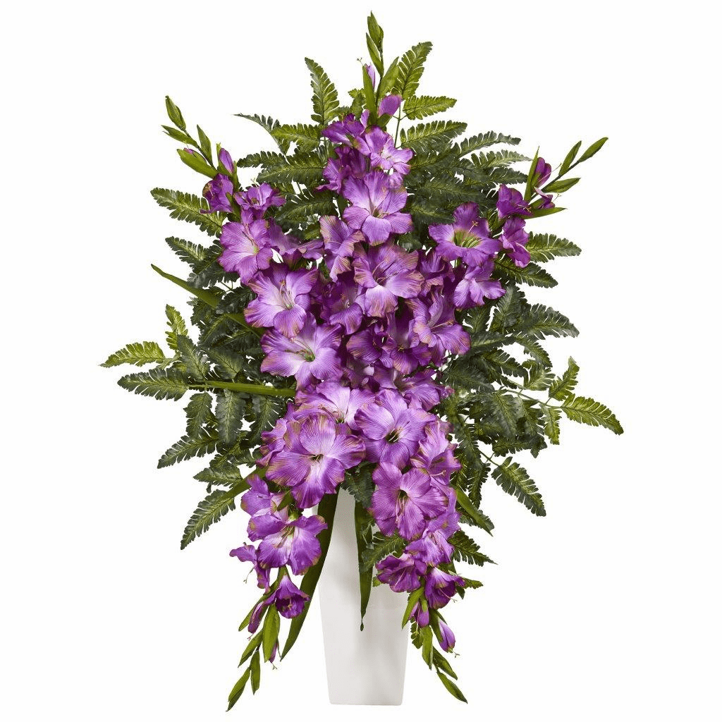 "35"" Purple Gladiolas & Fern Artificial Arrangement in White Vase"