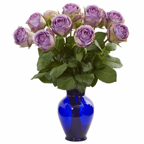 "20"" Purple Rose Artificial Arrangement in Blue Vase"