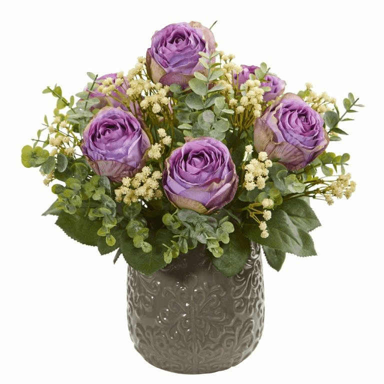 "14"" Purple Rose, Eucalyptus, Gypsophillia Artificial Arrangement"