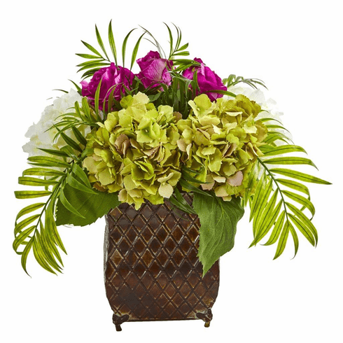 "15"" Purple Roses and Hydrangea Artificial Arrangement in Metal Planter"