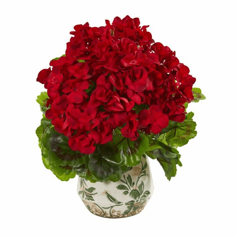 Red 12� Geranium Artificial Plant in Vase UV Resistant (Indoor/Outdoor)