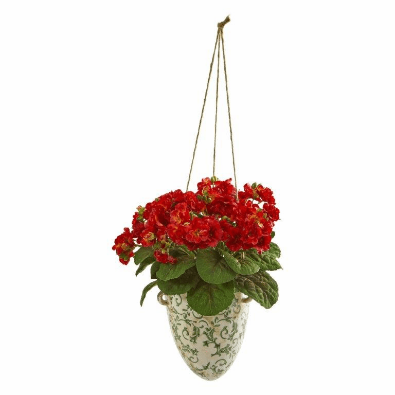 Red 13� Violet Artificial Plant in Floral Hanging Vase