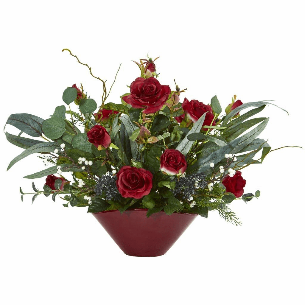 16� Red Rose and Eucalyptus Artificial Arrangement in Vase