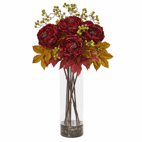"36"" Red Peony and Berries Artificial Arrangement in Large Cylinder Vase"