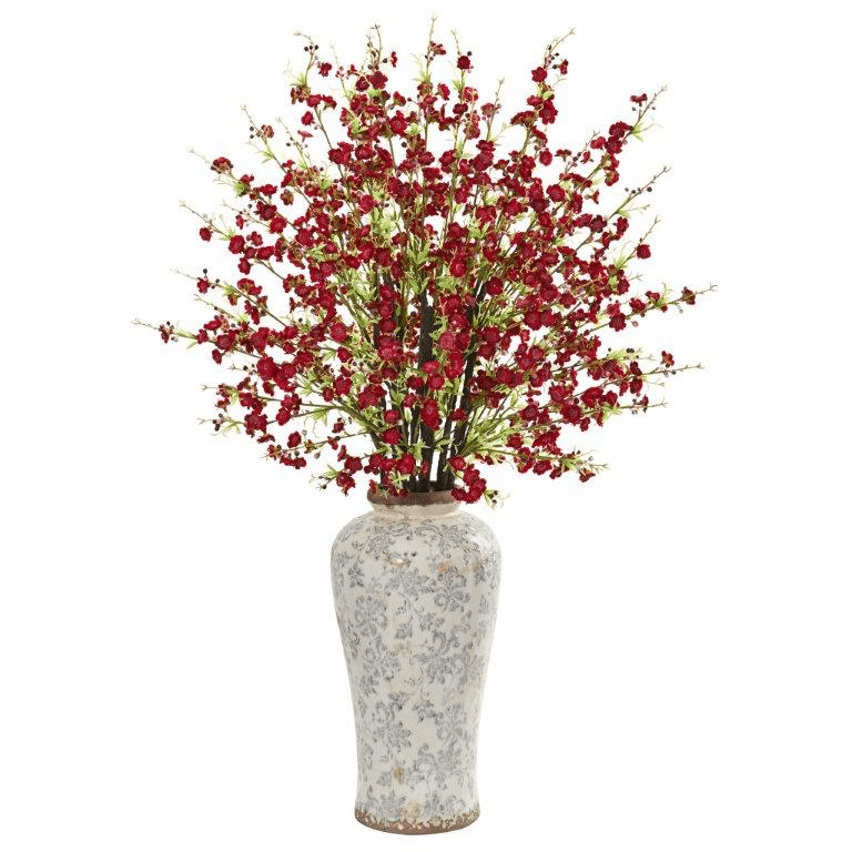 Red 37� Cherry Blossom Artificial Arrangement in Decorative Vase