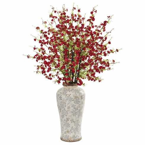 "37"" Red Cherry Blossom Artificial Arrangement in Decorative Vase"
