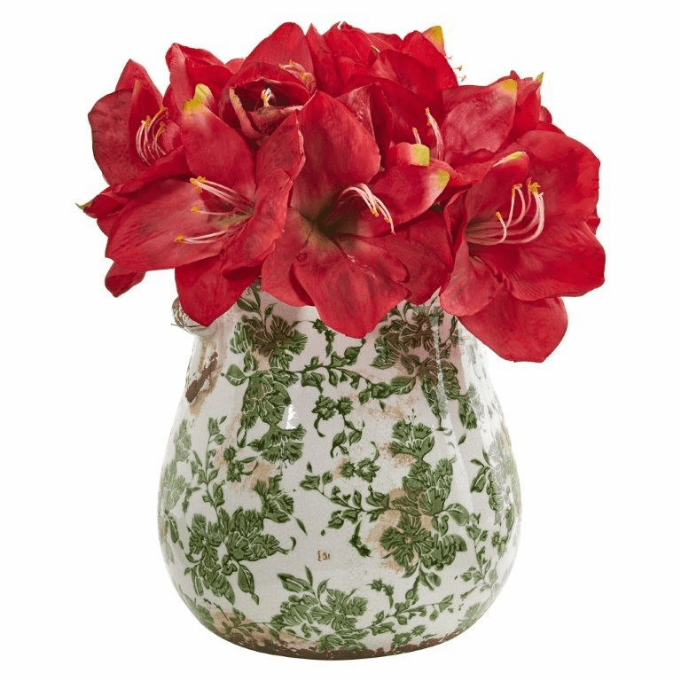 "15"" Red Amaryllis Artificial Arrangement in Floral Print Vase"