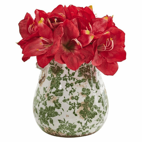 Red Amaryllis Artificial Arrangement in Floral Print Vase