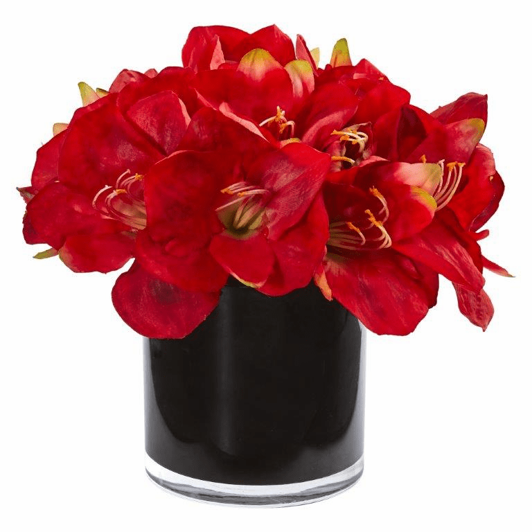 "11"" Red Amaryllis Artificial Arrangement in Glossy Cylinder"