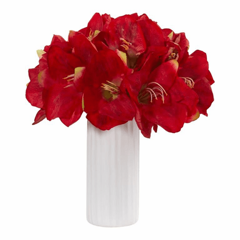 "14"" Red Amaryllis Artificial Arrangement in White Vase"