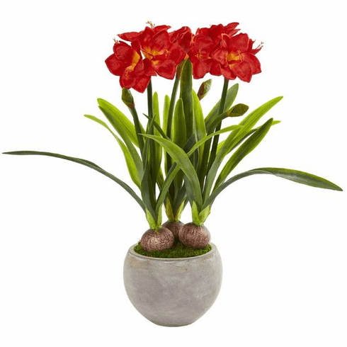 Red Amaryllis Artificial Plant in Sandstone Bowl