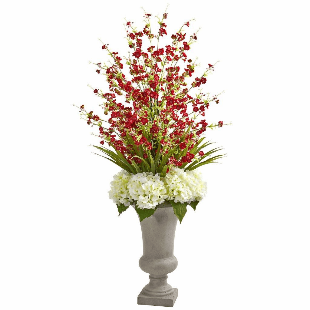 "42"" Red Cherry Blossom & Hydrangeas Artificial Arrangement in Urn"