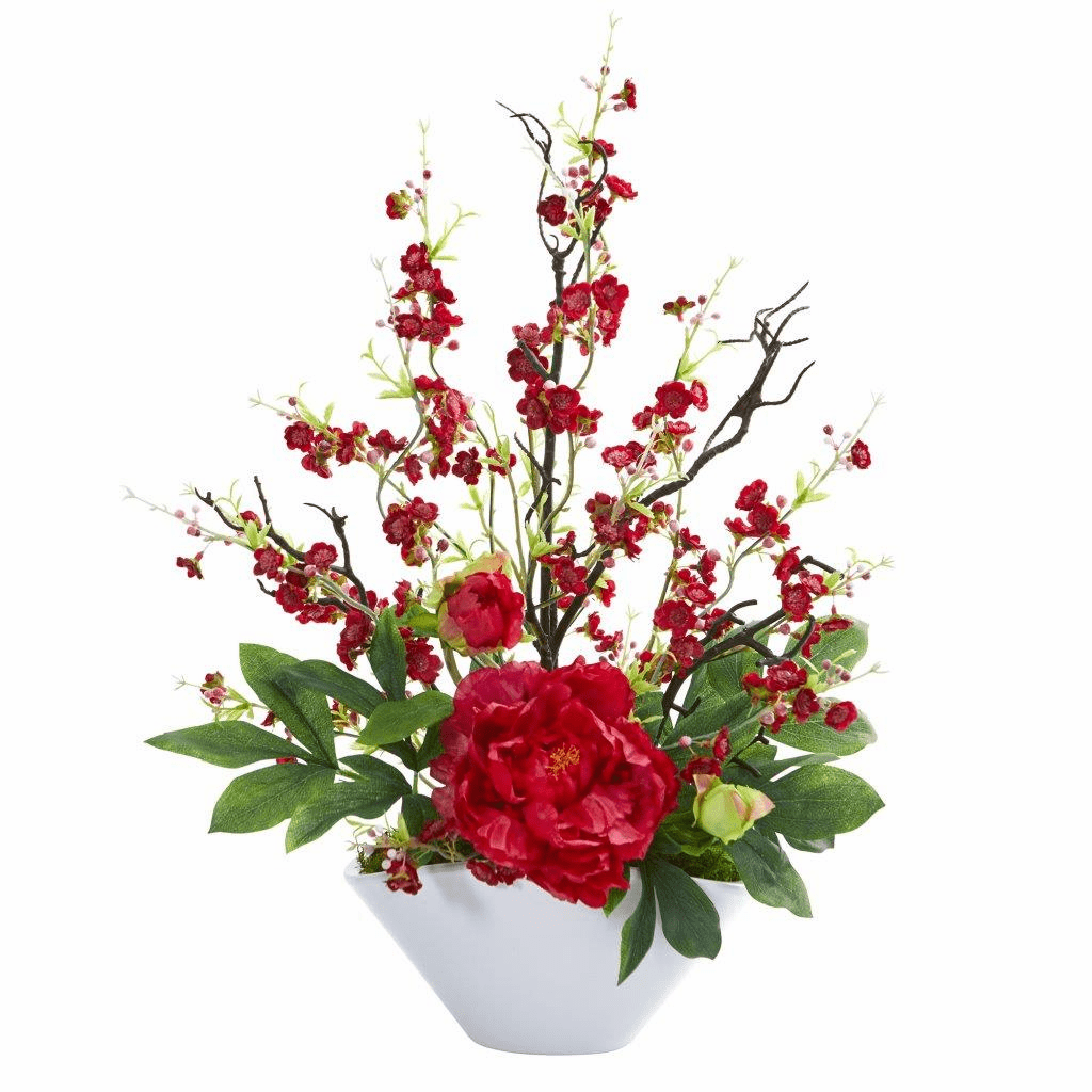 "23"" Red Cherry Blossom & Peony Artificial Arrangement"