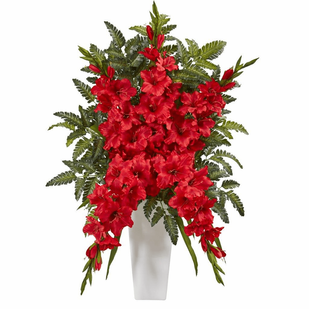 "35"" Red Gladiolas & Fern Artificial Arrangement in White Vase"