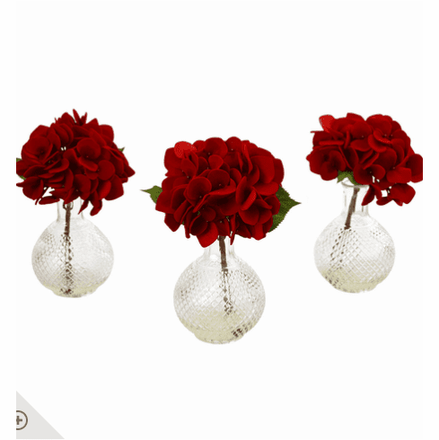 "12"" Red Hydrangea w/Glass Vase (Set of 3)"