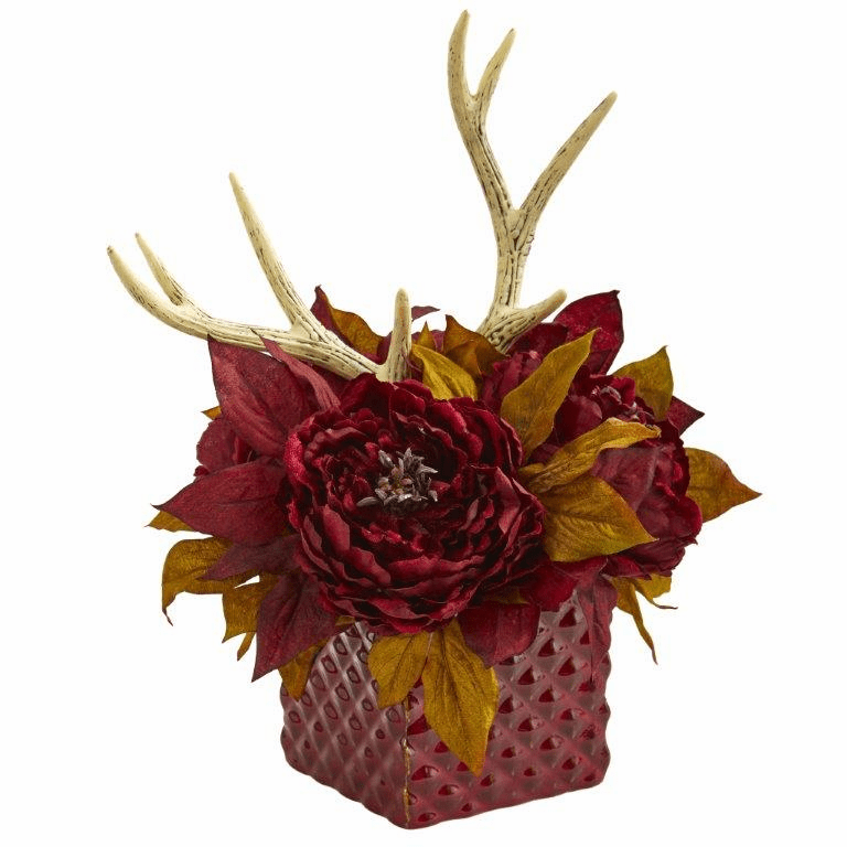 "17"" Red Peony and Antlers Artificial Arrangement in Red Vase"