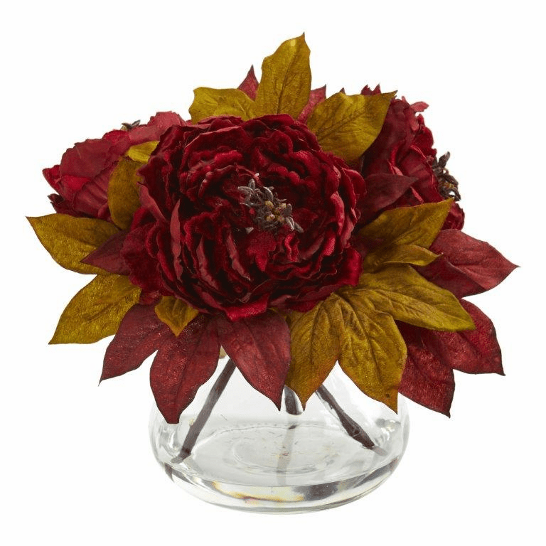 "10"" Red Peony Artificial Arrangement"