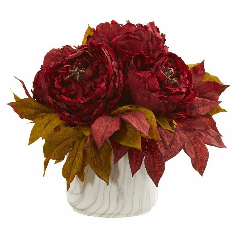 "12"" Red Peony Artificial Arrangement in Marble Finished Vase"
