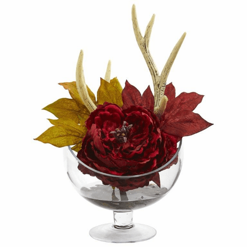 Red Peony Artificial Arrangement in Pedestal Glass Vase