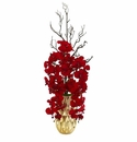 Red Phalaenopsis Orchid Artificial Arrangement in Gold Vase - N/A