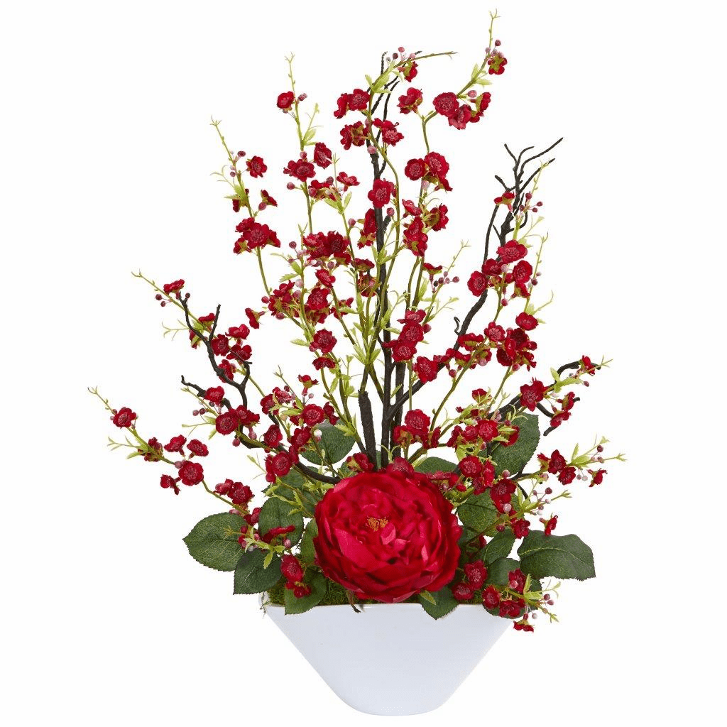 "23"" Red Rose & Cherry Blossom Artificial Arrangement"